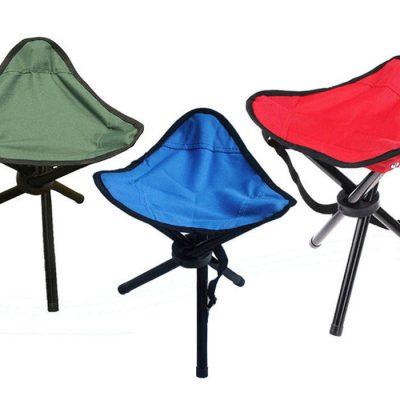 صندلی 3 پایه آبی قزمر زیتونی مسافرتی