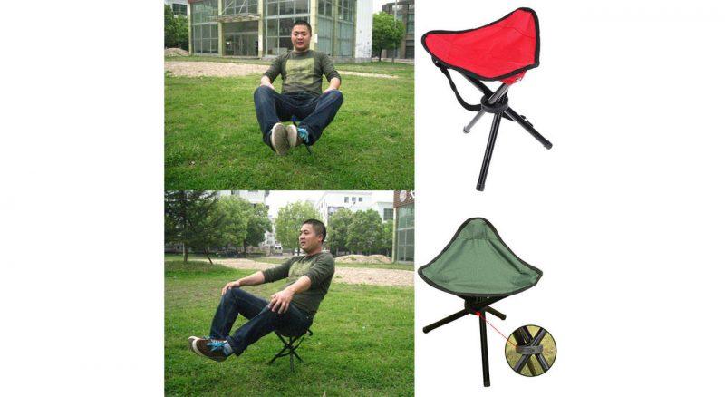 تعادل صندلی 3 پایه قزمز و زیتونی مسافرتی